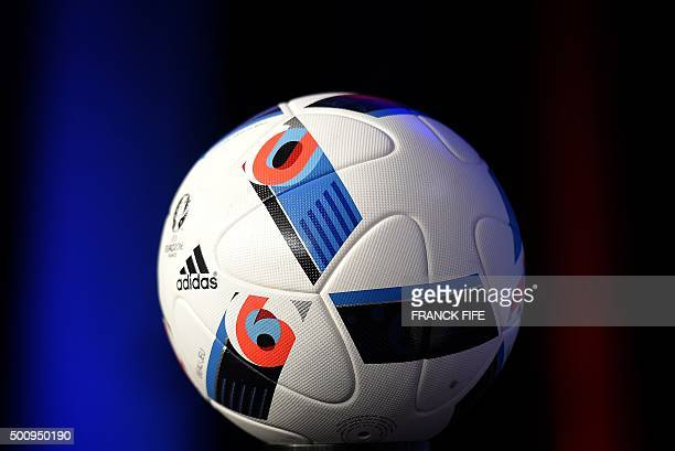 The official football of the upcoming Euro 2016 football championships is pictured before a press conference after the UEFA Executive Committee...