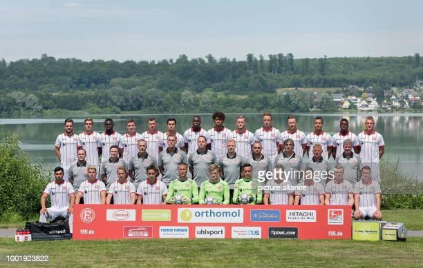 The official Fortuna Duesseldorf team photo taken in Westerburg Germany 6 July 2017 Back row LR Niko Gießelmann Florian Neuhaus Ihlas Bebou Marcel...