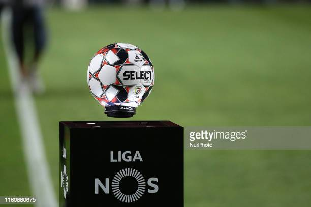 The official game ball is pictured before the Primeira Liga football match between SL Benfica and FC Pacos Ferreira at the Luz stadium in Lisbon,...