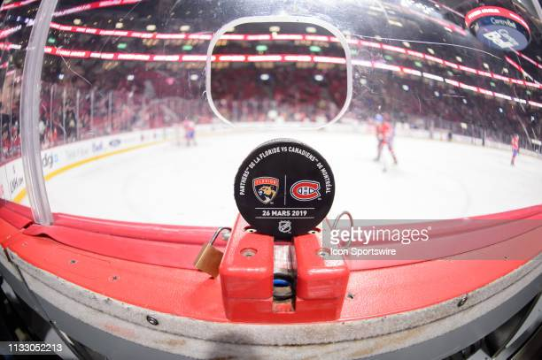 /the official game puck on display during the warmup of the NHL game between the Florida Panthers and the Montreal Canadiens on March 26 at the Bell...