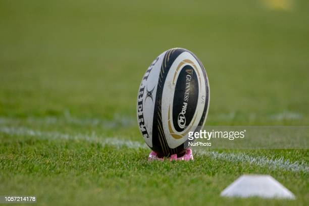The official Guinness PRO14 ball pictured during the Guinness PRO14 match between Connacht Rugby and Dragons at the Sportsground in Galway Ireland on...