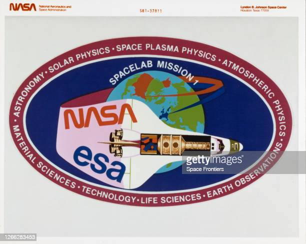 The official insignia for Spacelab Mission 1, a joint venture between the ESA and NASA's STS-9 mission on the Space Shuttle Columbia, February 1983....