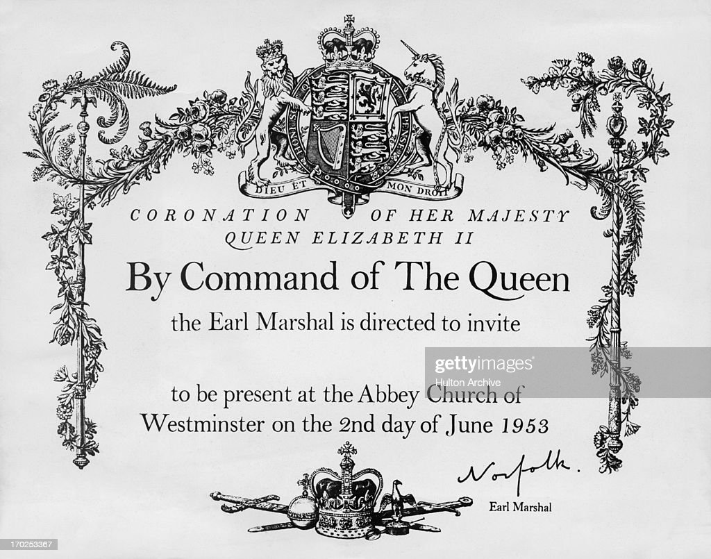 Coronation invitation pictures getty images the official invitation card for guests attending the coronation in westminster abbey 2nd june 1953 stopboris Image collections