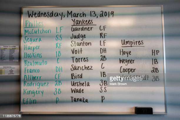 The official line up for the game between the New York Yankees and the Philadelphia Phillies in the press box prior to the game at Steinbrenner Field...