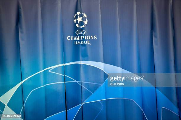 The official logo during the UEFA Champions' League football match Paris Saint Germain against Red Star Belgrade at the Parc des Princes stadium in...