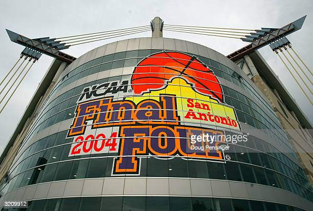 The official logo emblazens the exterior of the Alamodome on the eve of the NCAA Men's Final Four on April 2, 2004 in San Antonio, Texas.