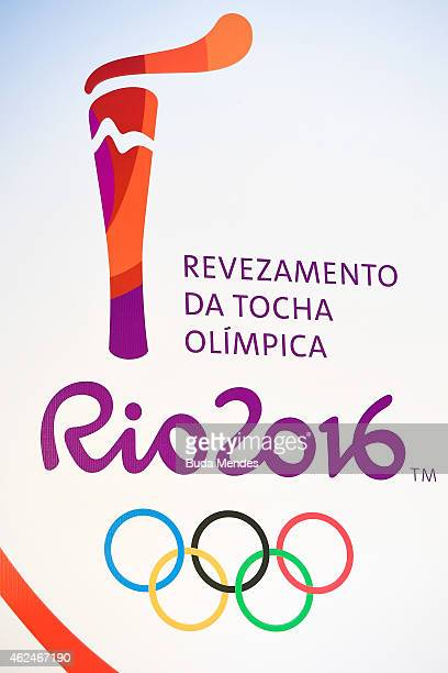 The official logo for the Rio 2016 Olympic Torch Relay is displayed during a press conference on January 29 2015 in Rio de Janeiro Brazil The Olympic...
