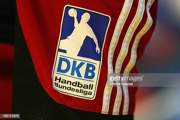The official logo is seen on the sleeve during the DKB Handball Bundesliga match between TUSEM Essen and Tus NLuebbecke at the Sportpark Am Hallo on...