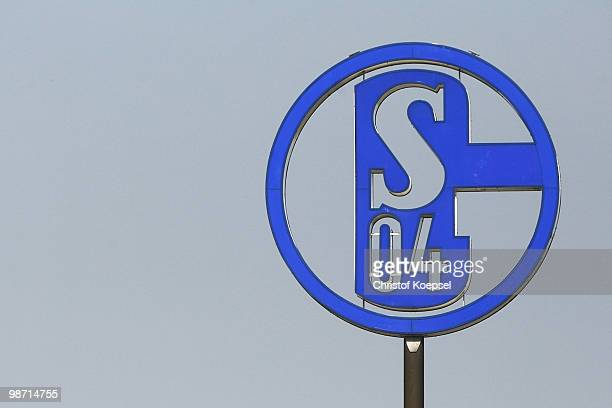 The official logo of Schalke is seen on the office during the training session of FC Schalke at the training ground on April 28 2010 in Gelsenkirchen...
