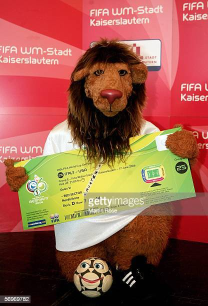 The Official Mascot of the 2006 FIFA World Cup Goleo VI holds an enlarged World Cup ticket during the presentation of the FIFA 2006 World Cup tickets...