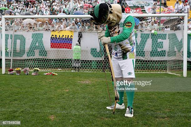 The official mascot pays tribute to the players of Brazilian team Chapecoense Real at the club's Arena Conda stadium in Chapeco, in the southern...