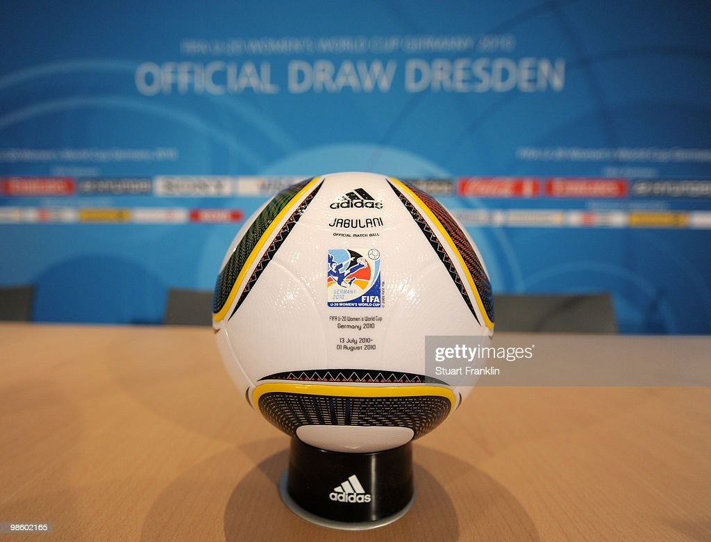The official match ball at the FIFA U-20 Women's World Cup draw on April 22, 2010 in Dresden, Germany.