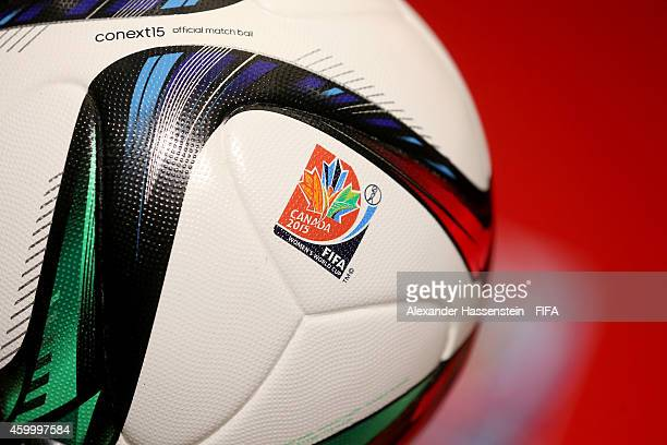 The official match ball conext 15 is displayed during the official PreDraw press conference at The Westin Hotel on December 5 2014 in Ottawa Canada
