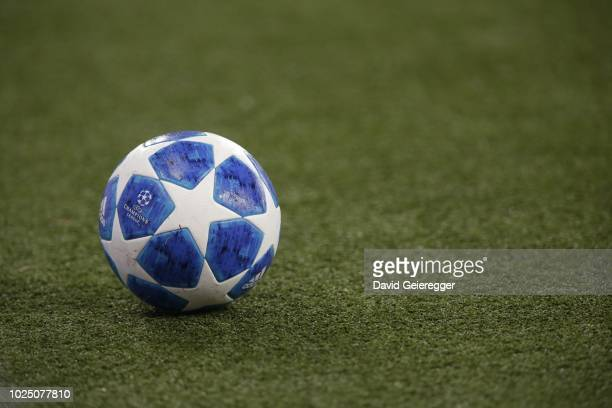 The official match ball during the UEFA Champions League match between FC Salzburg and Red Star Belgrade at Red Bull Arena on August 29 2018 in...