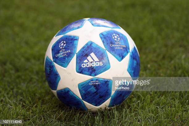 The official match ball for the 20182019 UEFA Champions League is pictured during the playoff first leg match SL Benfica vs PAOK FC at the Luz...