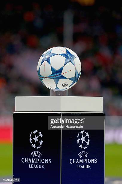The official match ball for the UEFA Champions League Group F match between FC Bayern Muenchen and Olympiacos FC at Allianz Arena on November 24 2015...