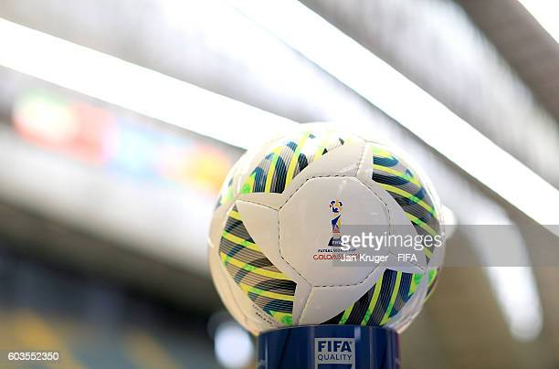 The official match ball is displayd ahead of kick off during the FIFA Futsal World Cup Group F match between Morocco and Azerbaijan at Coliseo Ivan...