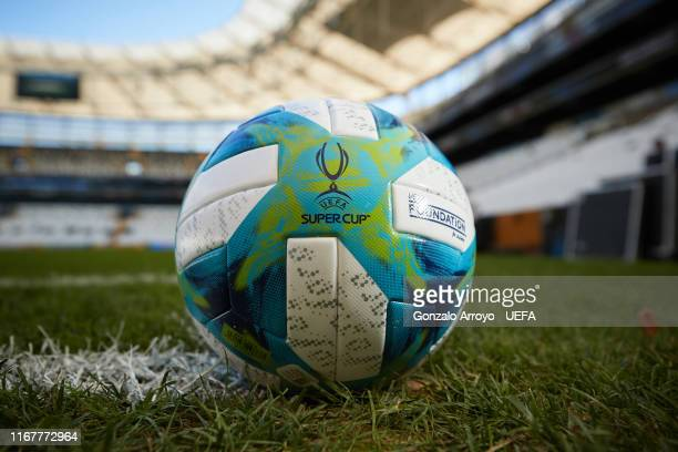 The official match ball is displayed the day before of the UEFA Supercup between Liverpool and Chelsea at Besiktas Park stadium on August 13 2019 in...