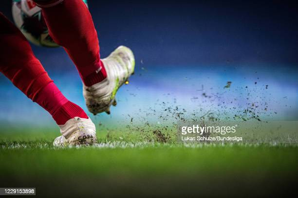 The official match ball is kicked during a corner kick during the Bundesliga match between FC Schalke 04 and 1. FC Union Berlin at Veltins-Arena on...