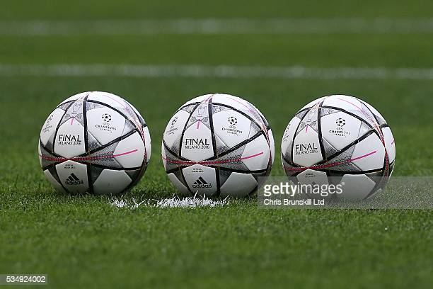The official match ball is seen ahead of the UEFA Champions League Final between Real Madrid and Club Atletico de Madrid at Stadio Giuseppe Meazza on...