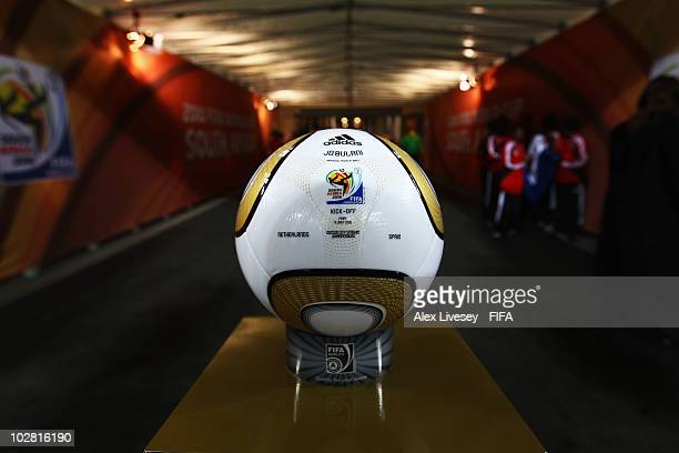 The official match ball is seen before the 2010 FIFA World Cup South Africa Final match between Netherlands and Spain at Soccer City Stadium on July...