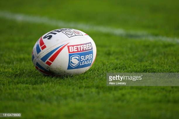 The official match ball is seen during the Betfred Super League match between Wigan Warriors and Wakefield Trinity at Totally Wicked Stadium on April...