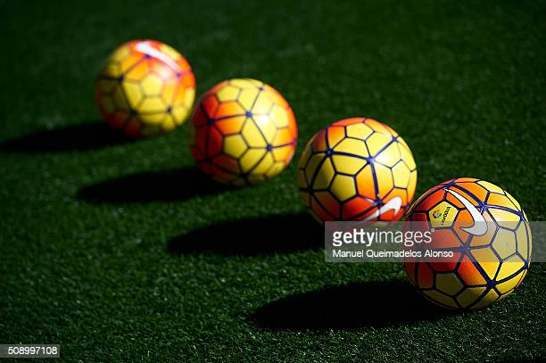 The official match ball is seen during the La Liga match between Levante UD and FC Barcelona at Ciutat de Valencia on February 07 2016 in Valencia...