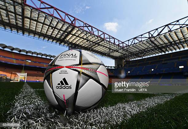 The official match ball is seen on the pitch prior to the UEFA Champions League Final between Athletico Madrid and Real Madrid at Stadio Giuseppe...