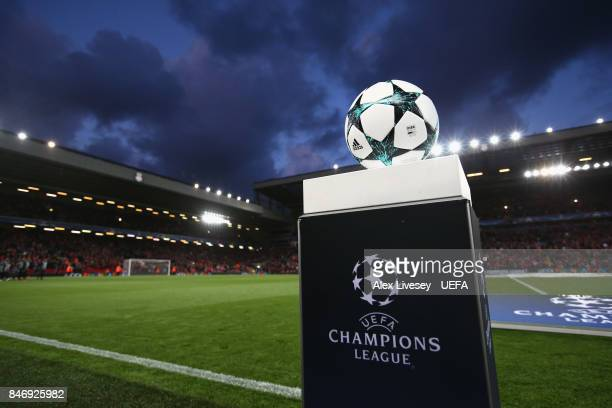 The official match ball is seen prior to kick off in the UEFA Champions League group E match between Liverpool FC and Sevilla FC at Anfield on...