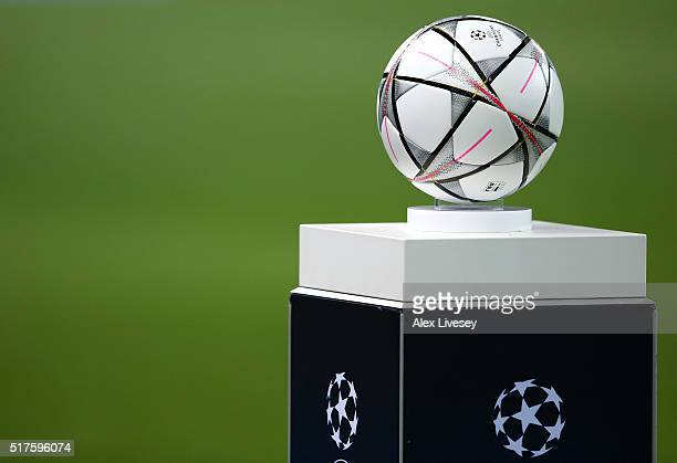 The official match ball is seen prior to the UEFA Champions League Round of 16 Second Leg match between Manchester City FC and FC Dynamo Kyiv at...