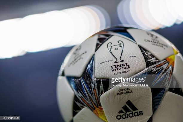 The official match ball lies on a stand prior to the UEFA Champions League Round of 16 First Leg match between Shakhtar Donetsk and AS Roma at...
