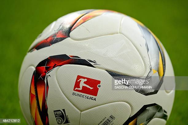 The official match ball lies on the pitch during the German first division Bundesliga football match Bayer 04 Leverkusen vs TSG 1899 Hoffenheim in...