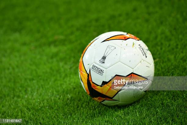 The official match ball lies on the pitch prior to the UEFA Europa League Round of 32 Second Leg match between RB Salzburg and Club Brugge at Red...