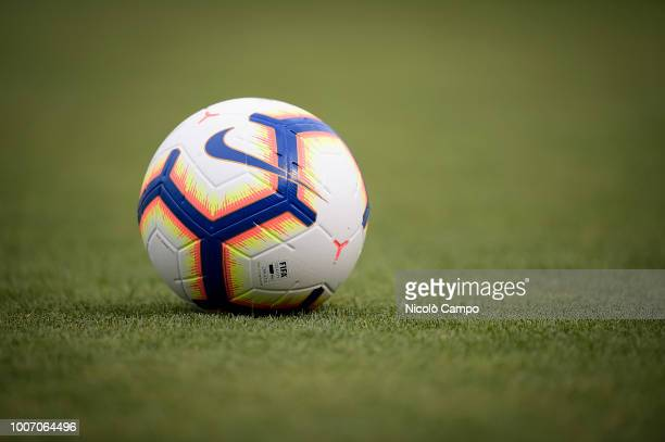 MOCCAGATTA ALESSANDRIA ITALY The official match ball of Serie A 20182019 Nike Merlin is pictured prior to the friendly football match between Torino...