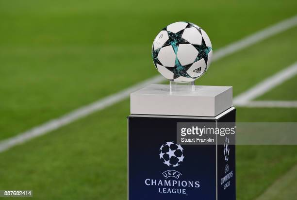 The official match ball sits on a plinth during the UEFA Champions League group G match between RB Leipzig and Besiktas at Red Bull Arena on December...