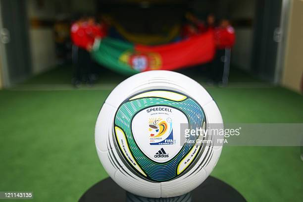 The official match ball 'Speedcell' before the FIFA U20 World Cup 2011 quarter final match between Portugal and Argentina at Estadia Jaime Moron Leon...