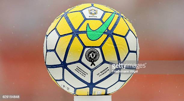 The official match ball with the logo of Chapecoense during the match between Sao Paulo and Santa Cruz for the Brazilian Series A 2016 at Pacaembu...