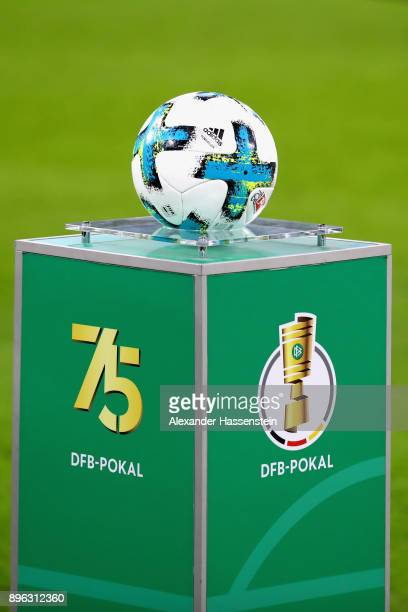 The official matchball is pictured prior to the DFB Cup match between Bayern Muenchen and Borussia Dortmund at Allianz Arena on December 20 2017 in...