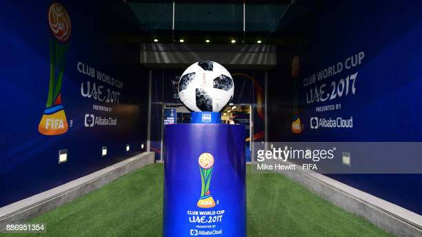The official matchball is positioned in the tunnel ahead of the FIFA Club World Cup UAE 2017 first round match between Al Jazira and Auckland City FC...