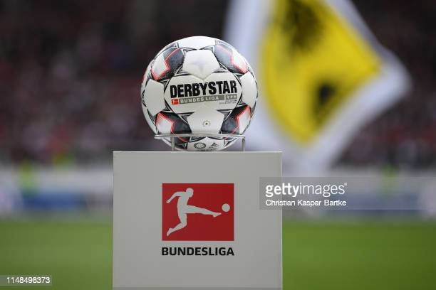 The official matchball is seen ahead of the Bundesliga match between VfB Stuttgart and VfL Wolfsburg at MercedesBenz Arena on May 11 2019 in...