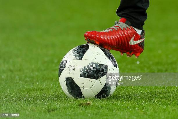 The official matchball Telstar 18 is seen prior the International friendly match between Germany and France at RheinEnergieStadion on November 14...