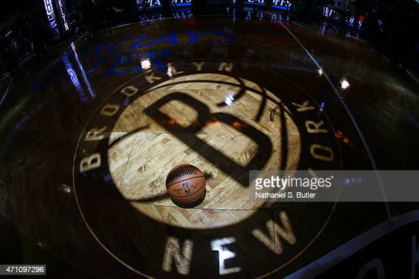 The Official NBA Spalding Ball as the Brooklyn Nets get introduced before a game against the Atlanta Hawks in Game Three of the Eastern Conference...