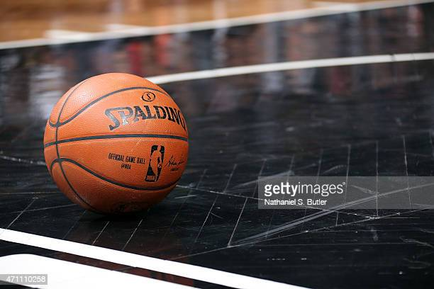The Official NBA Spalding Ball during a game between the Atlanta Hawks and Brooklyn Nets in Game Three of the Eastern Conference Quarterfinals during...
