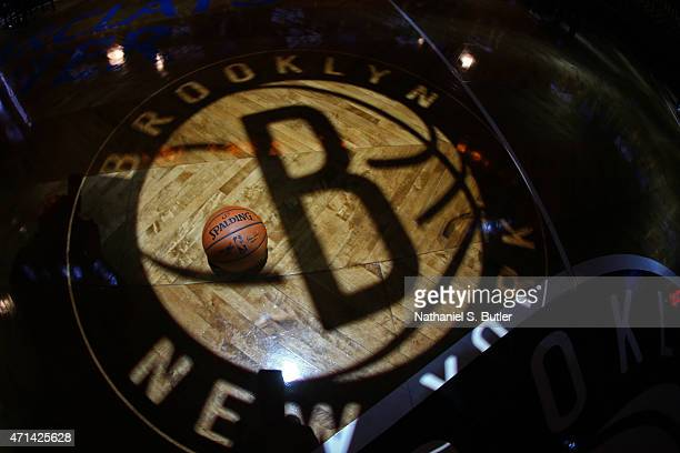 The official NBA Spalding basketball on display before the Brooklyn Nets play against the Atlanta Hawks in Game Three of the Eastern Conference...