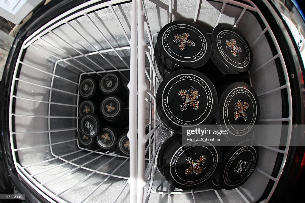 The Official NHL game puck cooler with a stock of chilled