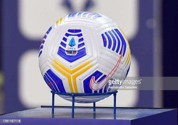 The official Nike ball match are seen during the Serie A match between Hellas Verona FC and Genoa CFC at Stadio Marcantonio Bentegodi on October 19,...