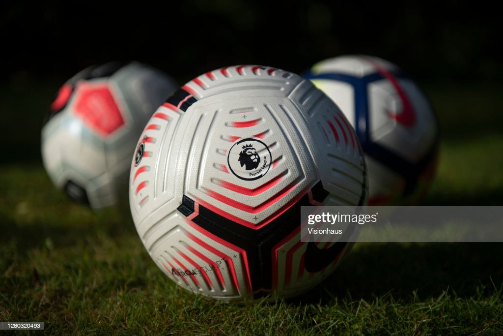 The Official Nike Premier League Match Ball and Protective Mask : News Photo