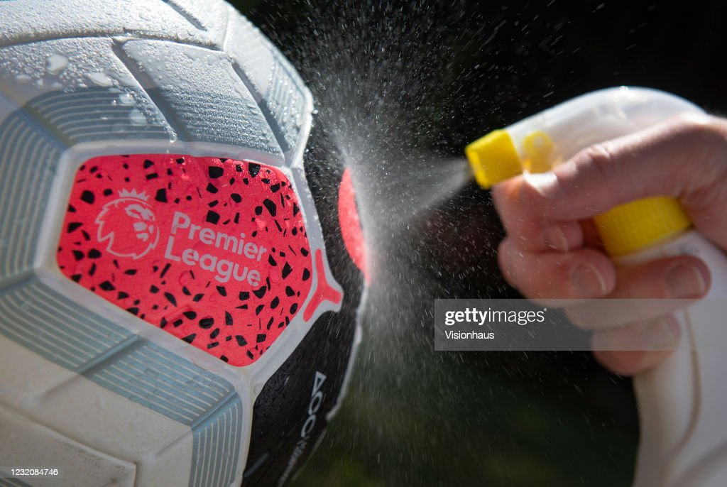 Premier League Match Ball Sprayed With Disinfectant : News Photo