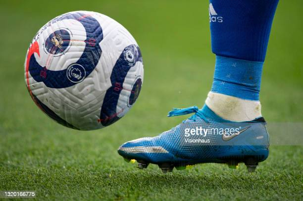 The official Nike Premier League match ball with a Nike boot during the Premier League match between Leicester City and Tottenham Hotspur at The King...