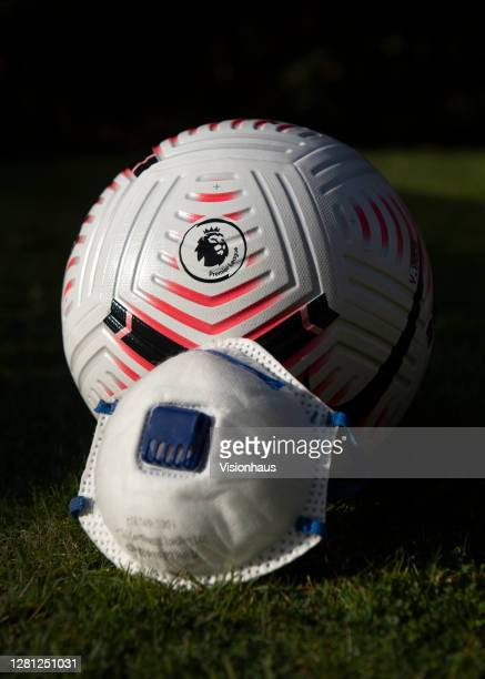The official nike Premier League match ball with a protective face mask on October 20 2020 in Manchester United Kingdom